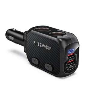 Ładowarka samochodowa Blitzwolf BW-CLA1 z 2 gniazdami zapalniczki, 3x USB, QC, PD @ Banggood