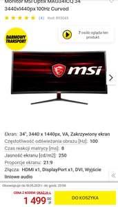 "Monitor MSI OPTIX MAG341CQ 34"" 3440X1440"