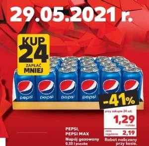 Pepsi lub Pepsi max, puszka 0,33 l przy zakupie 24 szt.   Kaufland  