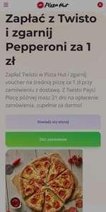 Płacąc z Twisto Voucher na Pizzę pepperoni za 1 zł w Pizza Hut