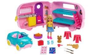 Mattel Przyczepa kempingowa Chelsea + Lalka Barbie