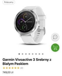 Smartwatch Garmin Vivoactive 3 Srebrny z Białym Paskiem