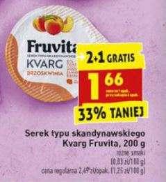 Serek owocowy typu Skandynawskiego Kvarg Fruvita 200 g - taniej przy zakupie 3 sztuk, w promocji również serek wiejski i twaróg @Biedronka