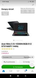 Laptop Acer Nitro 5 i5-10300H/8GB/512 GTX1660Ti 144Hz