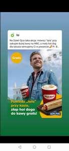 Darmowy mały hot-dog do kawy na BP