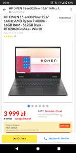 Laptop HP Omen, Ryzen 7, RTX 2060, 144hz, 16 gb RAM, Win 10. 3 raty gratis!!
