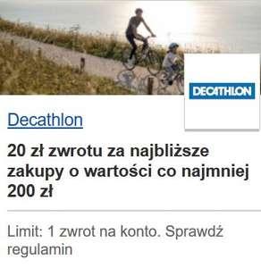 Decathlon 20 zł zwrotu za najbliższe zakupy o wartości co najmniej 200 zł - Visa Oferty