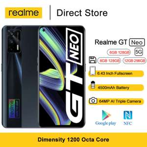 "Realme GT Neo 5G Smartphone 6.43"" FHD+ 120Hz Super AMOLED MediaTek Dimensity 1200 Octa Core - 300$"