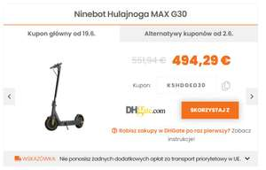 Nowy ważny kupon: skuter Ninebot MAX G30 o zasięgu 65 km w polskim magazynie ($593.69)