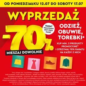 WYPRZEDAŻ - Tekstylia, Obuwie, Torebki 70% taniej przy zakupie 2 - Biedronka