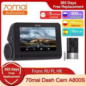 Wideorejestrator 70mai Dash Cam A800S z tylną kamerą. Wysyłka PL. $126.46