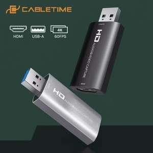 Karta przechwytująca CABLETIME 4K przechwytywanie wideo HDMI - USB 3.0 60FPS - Recorder C371 - Cena razem z VAT'em $9.83