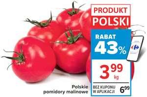 Polskie pomidory malinowe, cena za kg @Carrefour