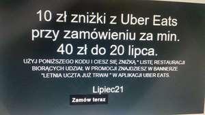 Uber Eats10 zł zniżki MWZ 40 zł