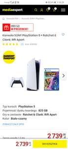 PlayStation 5 z jednym kontrolerem + gra Ratchet Clank: Rift Apart