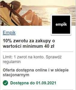 Empik zwrot 10% za zakupy o wartości minimum 40 zł (do 10 zł zwrotu) na empik.com lub w salonie stacjonarnym. Visa Oferty