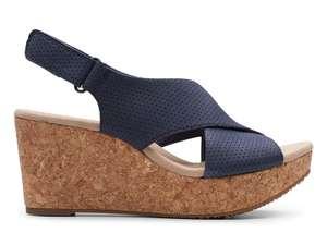 Skórzane sandały na koturnie CLARKS Annadel Parker, r. 37.5-41 @ZalandoLounge