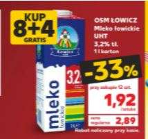 Mleko łowickie Kaufland 1,92 zł przy zakupie 12 szt.