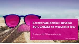 zniżka 30% na loty wizzair. tylko 16.07.2021!