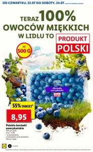 Polskie borówki amerykańskie - cena za 500 g (17,90 zł/kg) @Lidl