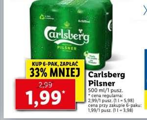 Piwo Carlsberg puszka 500ml; cena przy zakupie 6-paka Lidl