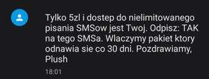 Plush - SMSy bez limitu 5zł/msc