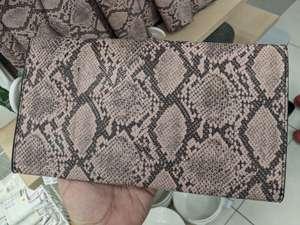 Torebka damska kopertówka, wzór skóra węża różowo-czarna. Pepco Dąbrowa Górnicza