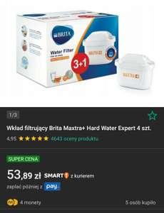 Wkład filtrujący Brita Maxtra+ Hard Water Expert 4 szt. + 4 monety