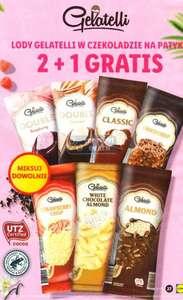 Lody w czekoladzie na patyku Gelatelli, różne rodzaje, 2+1 gratis
