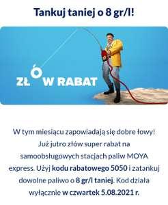 Tankuj taniej o 8 gr/l w Moya Express