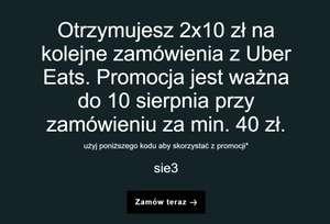 Zamówienie z Uber Eats przy zamówieniu za min. 40zł