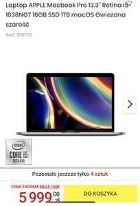 "Laptop APPLE Macbook Pro 13.3"" Retina i5-1038NG7 16GB SSD 1TB macOS Gwiezdna szarość"