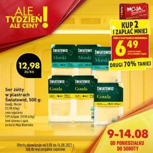 Ser żółty w plastrach Światowid 500g - Gouda lub Morski (cena przy zakupie dwóch opakowań)