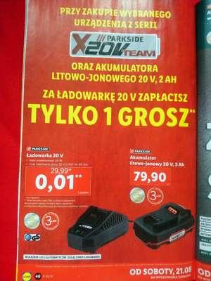 Parkside akumulator 20v 2Ah, akumulatorowa wiertarka, pompka, szlifierka, latarka, piła, stacja lutownicza. Stacjonarnie w sklepach lidl