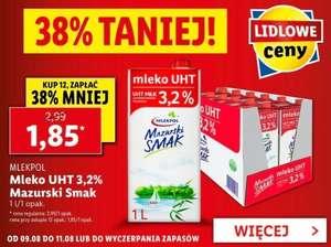 Mleko 3.2% Lidl za 1.85 zł przy zakupie 12 szt.