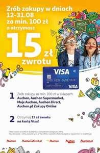 Visa Oferty Auchan zwrot 15 zł przy zakupach za min. 100 zł