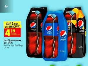 Pepsi, pepsi mango i pepsi max. 2 Pak 1.75l za 4.19zł = 2.39 zł za 1l