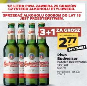 Piwo Budweiser Budvar 0.5L po 2.77 przy zakupie 4 (3+1 za 1 grosz)