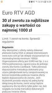 Visa oferty:Euro RTV AGD 30 zł zwrotu za najbliższe zakupy o wartości co najmniej 1000 zł