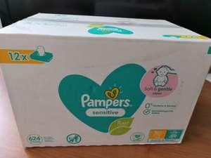 Chusteczki nawilżane Pampers i Pampers sensitive 12x52szt Auchan
