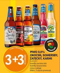 Piwo 0,0% Okocim, Somersby, Žatecky, Karmi 3+3 z Delikartą - Delikatesy Centrum