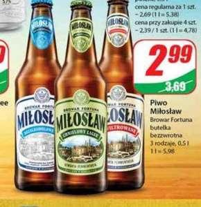 Piwo Miłosław browar Fortuna 3 rodzaje but.bezzw 0,5L /Dino/