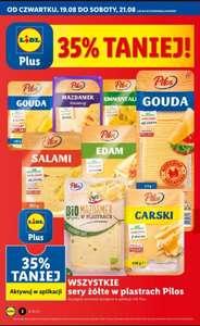 Wszystkie żółte sery w plastrach Pilos 35% taniej