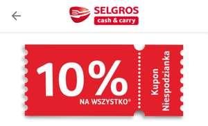 Kupon -10% do Selgros na wszystkie nieprzecenione produkty.