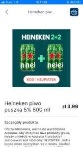 4 piwa heineken w cenie 2 z darmowa dostawa. Oferta tylko w Warszawie