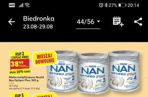 Mleko Nan Optipro plus 2,3,4 - Taniej przy zakupie 2 op.sklep biedronka