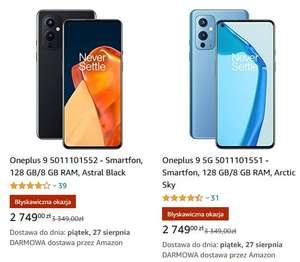 Smartfon Oneplus 9 8/128 (Black / Sky) sprzedawany przez Amazon.pl