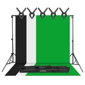 Zestaw do fotografii studyjnej - tła + statyw (greenscreen, tło białe + czarne) z wysyłką z Niemiec @ Tomtop