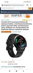 Ticwatch GTX podstawowy smartwatch tej firmy z amazon.pl