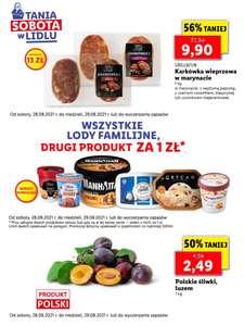 Wszystkie lody familijne: drugi produkt za 1 zł, polskie śliwki - 2,49 zł/kg, karkówka w marynacie - 9,90 zł/kg (Tania Sobota w Lidlu)